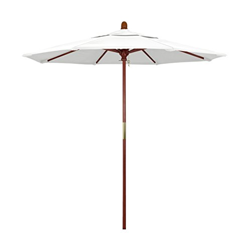 California Umbrella 7.5' Rd. Wooden Market Umbrella, Push Open Pin Stop , Sunbrella Natural