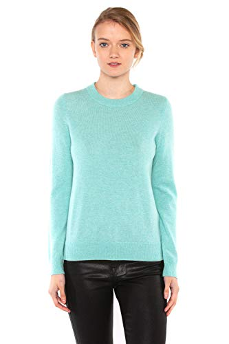 JENNIE LIU Women's 100% Pure Cashmere Long Sleeve Crew Neck Sweater (M, Aqua)