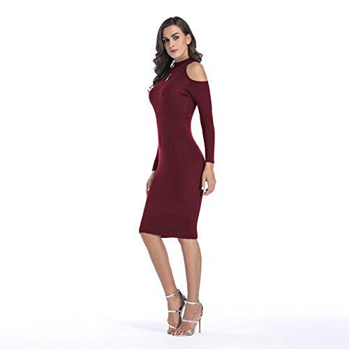 Las Raya Cóctel De Hacia Señoras Atractivo Vestido Fuweiencore Vino Mujeres La Rojo Fuera El Punto Ahueca Apretado AtnUWOq