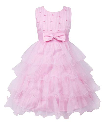 MOREMOO Girls Beading Wedding Party Princess Cupcake Bowknot Dress(Pink -