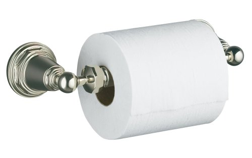 KOHLER K-13114-SN Pinstripe Toilet Tissue Holder, Vibrant Polished Nickel by Kohler