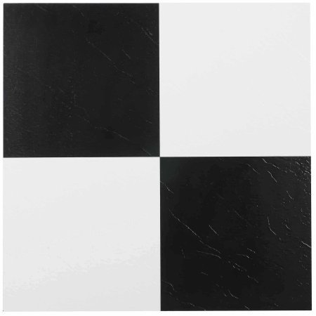 NEXUS 12x12 Self Adhesive Vinyl Floor Tile - 20 Tiles/20 Sq.Ft. (Black & White)