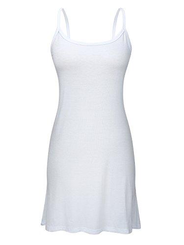 Century Star Womens Plus Size Long Daily Sport Modal Mini Dress Cami Stretchy Casual Basic Comfort Spaghetti Strap Tank Top Pure White 4XL (US 18W-22W)