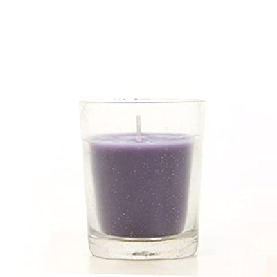 Hosley Premium, Highly Scented Set of 8, Lavender, Essential Oils, Clear Glass Wax Filled Votive Candles. Burns up to 12 Hours Each. Great Gift for Home, Patio, Gardens, Spa, Wedding O4