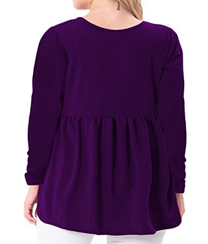 YASAKO Women's Plus Size Button Down Shirts Notch Henley V Neck Long Sleeve Pleated Flowy Blouses Casual Tunic Tops (Purple, 3X-Large)