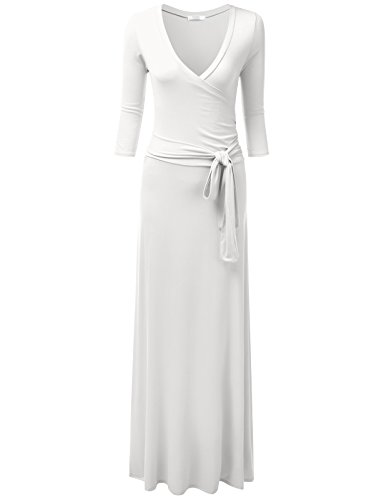 NINEXIS Women's V-Neck 3/4 Sleeve Waist Wrap Front Maxi Dress Ivory ()