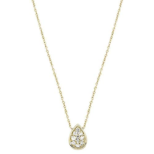 14K Gold, White Gold or Rose Gold 0.12 cttw Diamond Pear Shape Bezel Pendant Necklace (14, 16, 18