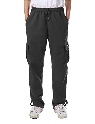 Men's Cargo Pocket Fleece Sweatpants (Charcoal, Large) (Cargo Hoody Fleece)