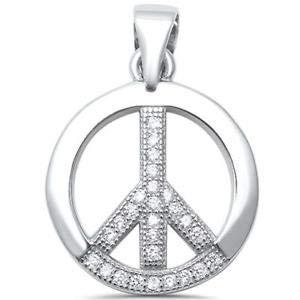 Round CZ Peace Sign Charm 925 Sterling Silver Pendant - Jewelry Accessories Key Chain Bracelet Necklace Pendants