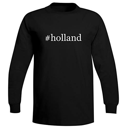 The Town Butler #Holland - A Soft & Comfortable Hashtag Men's Long Sleeve T-Shirt, Black, Small