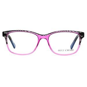 OCCI CHIARI Eyewear Frames Non-Prescription Clear Lens Eye Glasses for Womens (Balck/Pink, 53)