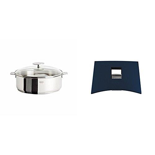 Cristel Casteline S26QMPKP Saute Pan, 5 quart, Silver with Cristel Mutine Plmaeb Side Handle, Blue Ink