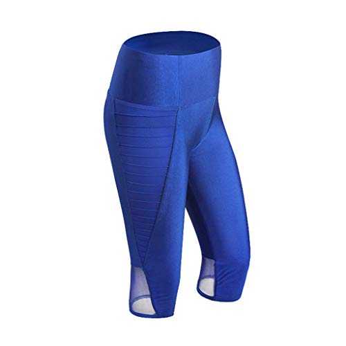 HEJANG Women's Yoga Sports Breathable Fitness Tights Slimming Exercise Running Pants Gym 2019 (XL, Blue)