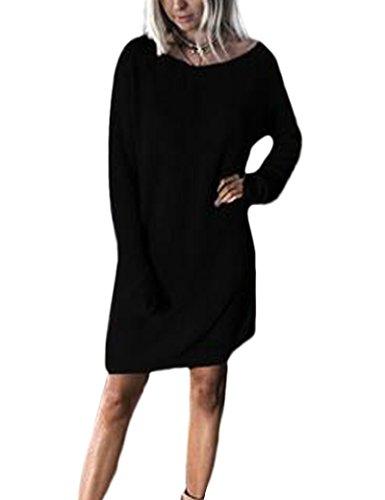 Vestido Oversize de Casual manga larga suelta de las mujeres Black