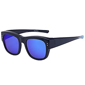 CAXMAN Oversized Fits Over Sunglasses Mirrored Polarized Lens for Prescription Glasses with Soft PU Case, Navy Blue Frame Blue REVO Lens, Size 55mm