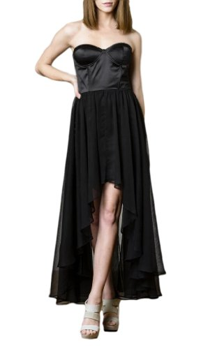 Blaque Label - Blaque Label Women's Strapless Hi-Low Dress M Black