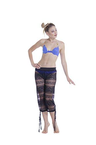 Sockbin Beach Pants, Mesh Pool Swim Cover Up for Women (Fishnet (adjustable bottom), Black)