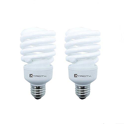 Energy Saving Spiral - Compact Fluorescent Light Bulb T2 Spiral CFL, 4100k Cool White, 23W (100 Watt Equivalent), 1520 Lumens, E26 Medium Base, 120V, UL Listed (Pack of 2)