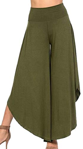 Hajotrawa Women's Stretch Gym Pleated Irregular Wide Leg Ankle Pants Olive XXS ()