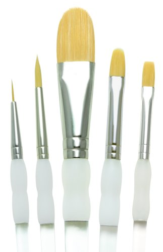 Grip Royal Soft Brush (Royal Brush SG301 Soft Grip Starter Golden Taklon Fiber Paint Brush Set, Assorted Size (Pack of 5))