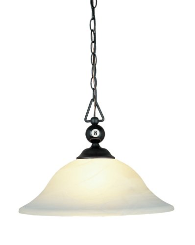 Elk 190-P-Bk-G1 Designer Classics 1-Light Billiard Light, 14-Inch, Matte Black With White Faux Alabaster Glass Shade