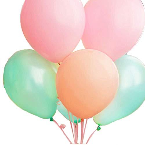 ALLHEARTDESIRES 60 Ct Mixed 10 Pastel Peach Pink Mint Green Latex Balloon Wedding Birthday Christening Girl Baby Shower Party Decoration