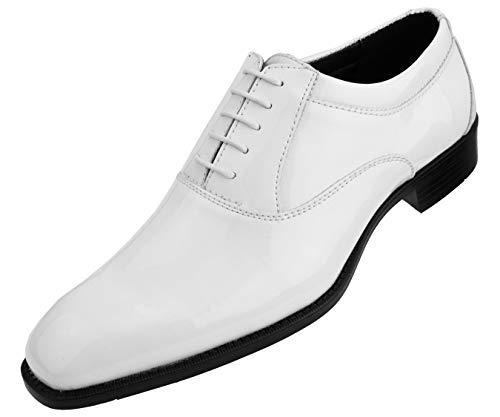 Amali Men's Patent High Shine Faux Leather Lace Up Oxford Dress Shoe, Style Classiko ()