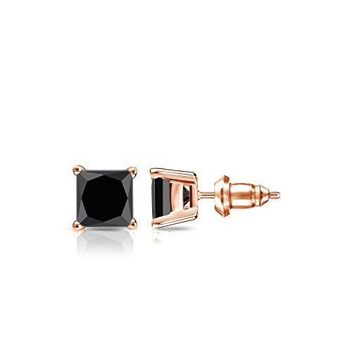 (Diamond Wish 14k Rose Gold Men's Princess-Cut Black Diamond Stud Earrings (1 1/2cttw) 4-Prong Basket, Secure Lock Back)