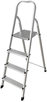 CML Home Inicio escaleras de Interior y Exterior en Aluminio Grueso Escalera Plegable de Goma Antideslizante de múltiples Funciones del hogar escaleras, Blanca: Amazon.es: Hogar
