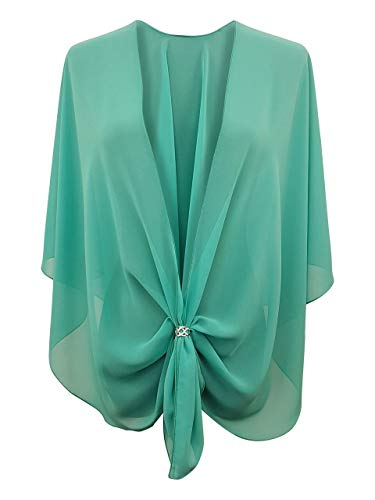 - eXcaped Women's Evening Shawl Wrap Sheer Chiffon Open Front Cape and Silver Scarf Ring (Jade)