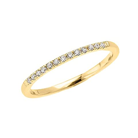 10k Yellow Gold Dainty Diamond Stackable Ring (Size 5) (10k Gold Ring Size 5)