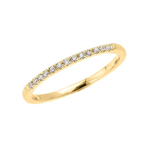10k Yellow Gold Dainty Diamond Stackable Ring (Size 9) (Yellow Gold Stackable)