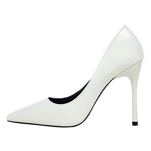 37 Solid Pull PU White High On AmoonyFashion Women's Closed Toe Heels Shoes Pumps 1npFOC7x
