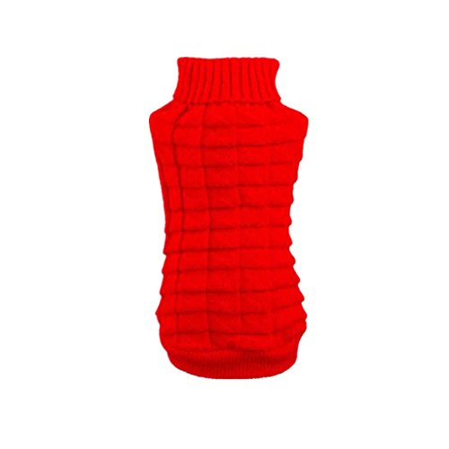 Farjing Puppy Clothing, Pet Dog Clothes Winter Woolen Sweater Knitwear (S,Red ()