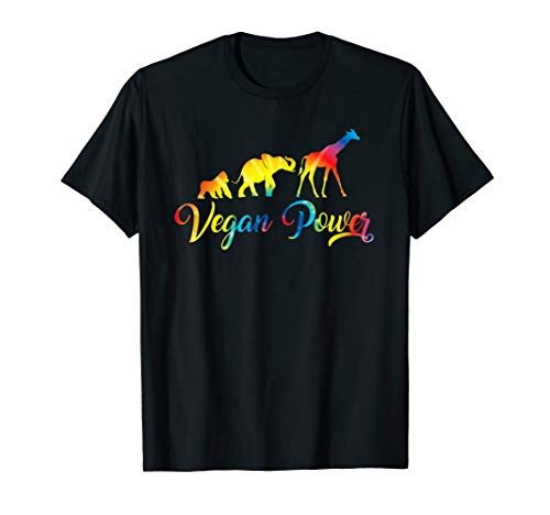 Vegan Power Shirt Vegetarian Jungle Animals Tie Dye Graphic