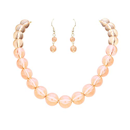 (V Foxy Collection Chunky See Through Transparent Peach Lucite Acrylic Bubble Bead Necklace 18