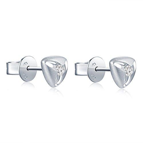 Or blanc 18ct 750Diamant ouvert Triangle Boucles d'oreille à tige (0.09carat au total, G-H Couleur Vs2-si1Clarté) bijoux femme Cadeau pour anniversaire de mariage