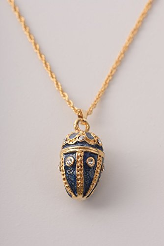 (Keren Kopal Blue Fabrege Styled Pendant Necklace Decorated with Swarovski Crystals Special Gift for Her)