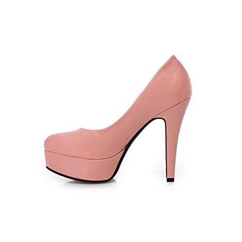 AllhqFashion Damen PU Leder Rein Ziehen auf Spitz Zehe Hoher Absatz Pumps Schuhe Pink