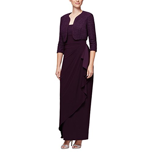 Alex Evenings Women's Long Empire Waist Bolero Dress (Petite and Regular Sizes), Eggplant, 14