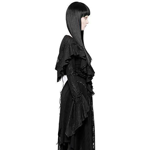 Punk Rave Black Gothic Halloween Vintage Decadent Lace Short Coat Hooded Cape Women (S)