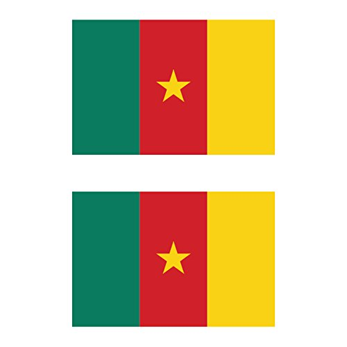 Two Pack Cameroon Flag Sticker FA Graphix Decal Self Adhesive Vinyl CMR CM