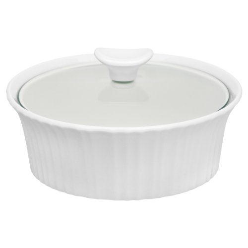Corningware French White III Round Casserole with Glass Cover, 1.5-Quart