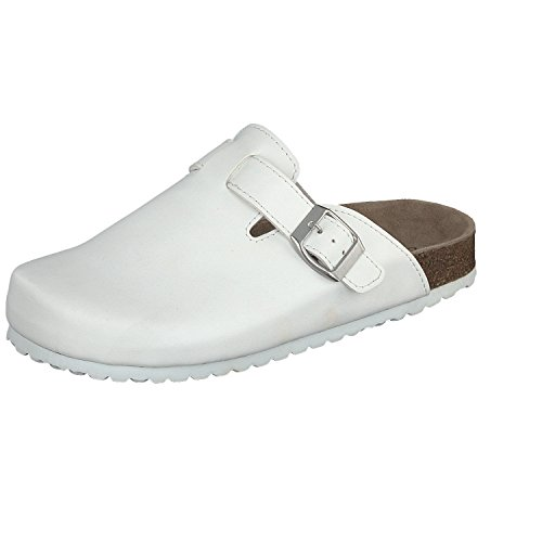 Softwaves Herren Damen Clogs 276-111 weiß Leder-Decksohle Gr.36-46 Unisex White