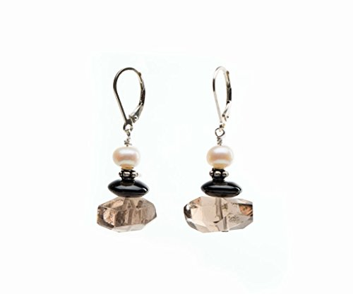 Faceted Smoky Quartz & Freshwater Pearl Earrings