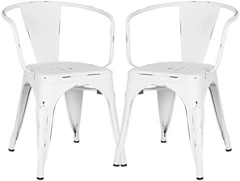 Poly and Bark Trattoria Arm Chair in Distressed White Set of 2