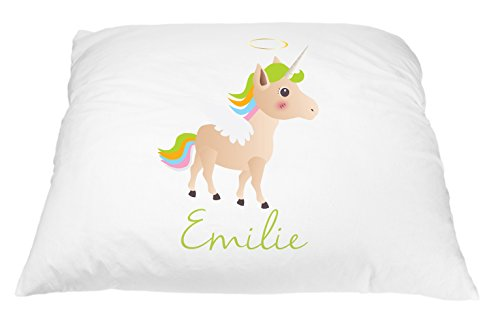 Personalized Kid's Unicorn Pillowcase Microfiber Polyester Standard 20 by 30 Inches, Green Haired Unicorn Pillow Cover for Girls, Personalized Pillow with Names, Personalized Gifts for Kids - Kids Personalized Name Pillow