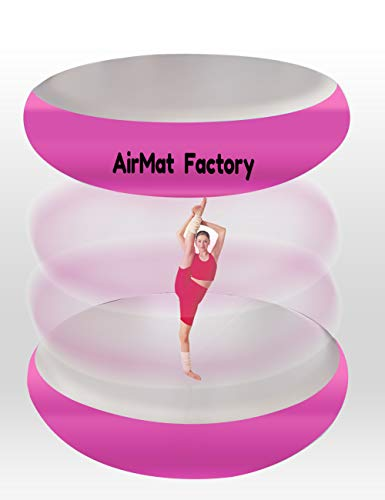 AIRMAT FACTORY Airspot Gymnastics Airtrack – Inflatable Air Track Tumbling Mat with Foot Air Pump for Gym, Home Use, Tumble Track for Train (Cute Pink, D=2.3ft & T=0.3ft(Diameter 0.7m0.1m))