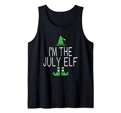 Matching Family Christmas In July Funny I'm The July Elf Tank ()