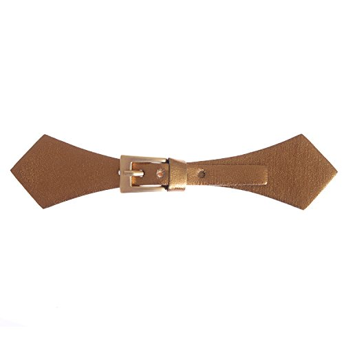 (Sew On Faux Leather Tab Closure Adjustable Bronze Color Tab with Rectangular Matt Gold Buckle)